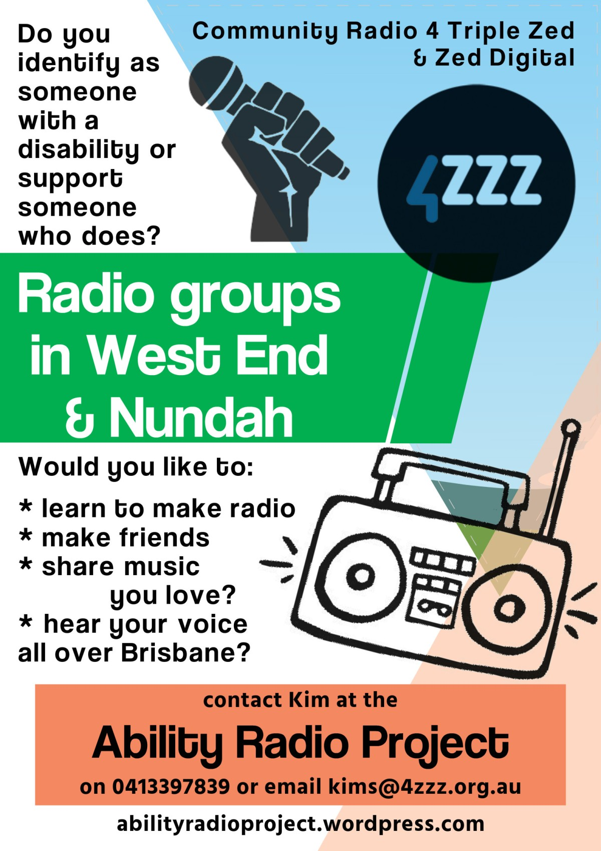 Poster advertising radio groups, same text as article
