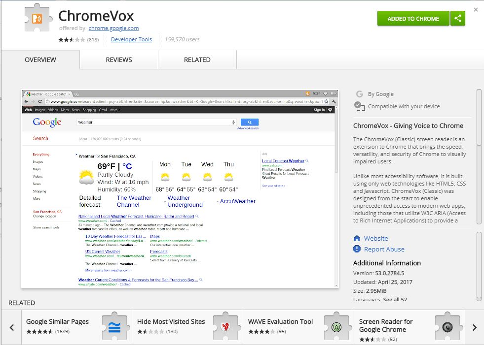Chrome Vox extension for website development with screen reader accessibility