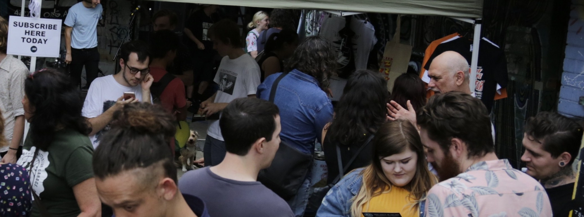 Crowd at a 4ZZZ carpark gig, photo by Matt Dennien