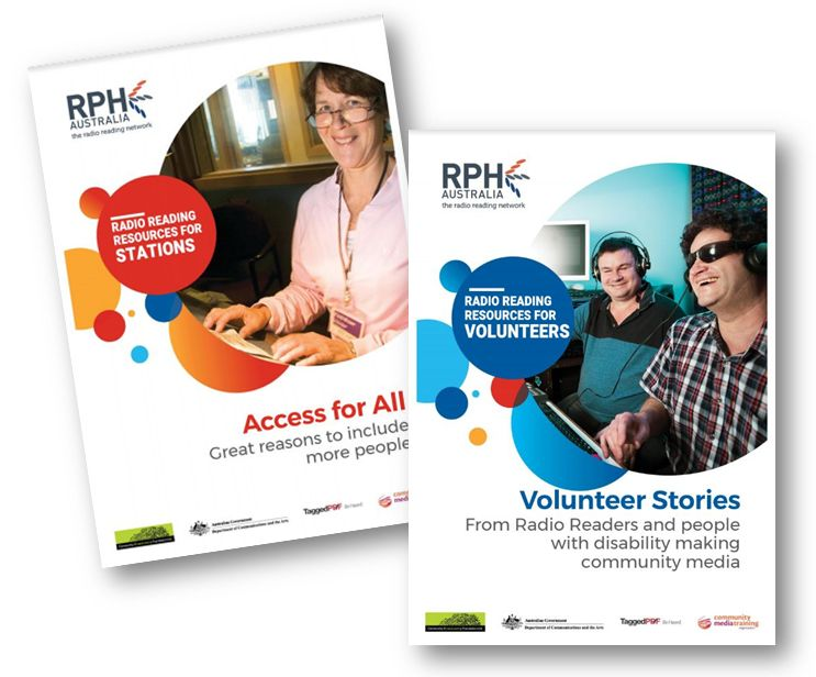 Covers of new guides: one entitled Access for All with a smiling woman in glasses on the cover. The second cover is called Volunteer Stories and shows two radio producers who are blind in the studio.
